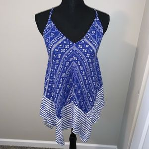 Handkerchief style blue and white strapy tank